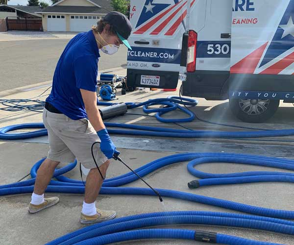 Disinfecting & Sanitizing All Hoses & Equipment Before & After Each Project